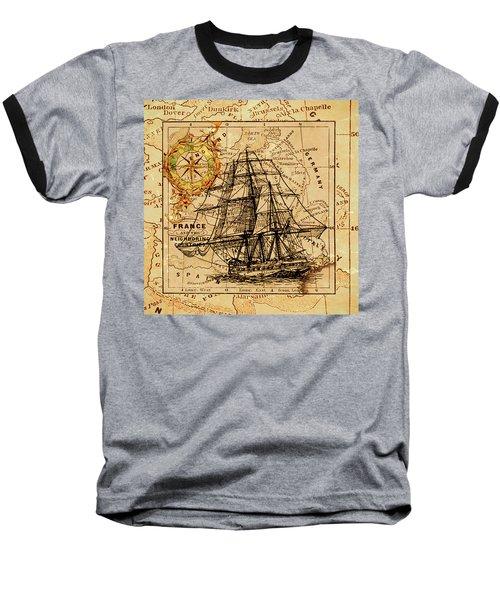 Sailing Ship Map Baseball T-Shirt