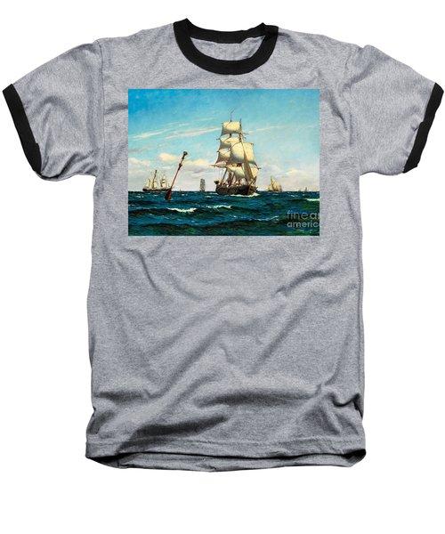 Baseball T-Shirt featuring the painting Sailing Ships At Sea by Pg Reproductions