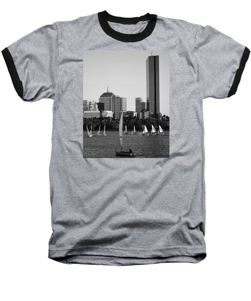 Sailing The Charles River Boston Ma Black And White Baseball T-Shirt