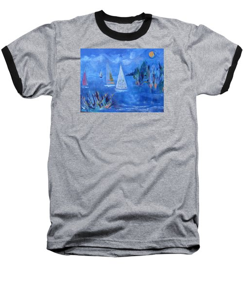 Baseball T-Shirt featuring the painting Sails And Sun by Betty Pieper