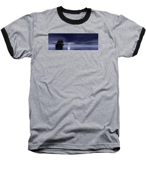 Sails Beneath The Moon Baseball T-Shirt by Mark Blauhoefer
