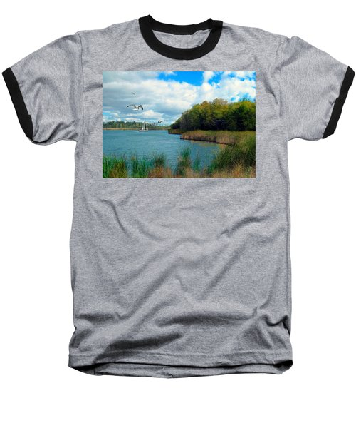 Sails In The Distance Baseball T-Shirt by Cedric Hampton