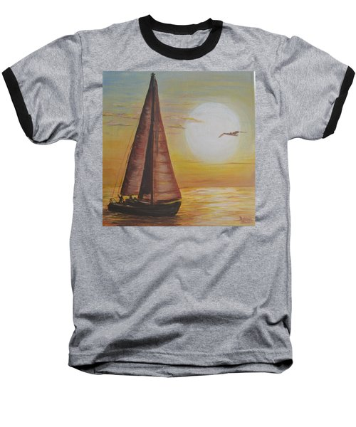 Sails In The Sunset Baseball T-Shirt by Debbie Baker