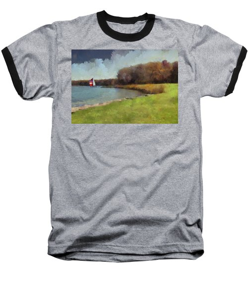 Sails On Lake Wampum Baseball T-Shirt by Cedric Hampton