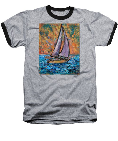 Baseball T-Shirt featuring the painting Sails Up by Xueling Zou