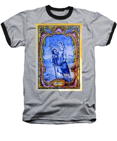 Saint Christopher Carrying The Christ Child Across The River - Near Entrance To The Carmel Mission Baseball T-Shirt