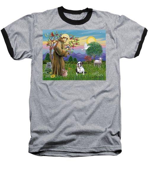 Saint Francis Blesses A Brown And White English Bulldog Baseball T-Shirt