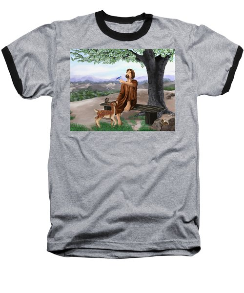 Baseball T-Shirt featuring the painting Saint Francis by Susan Kinney