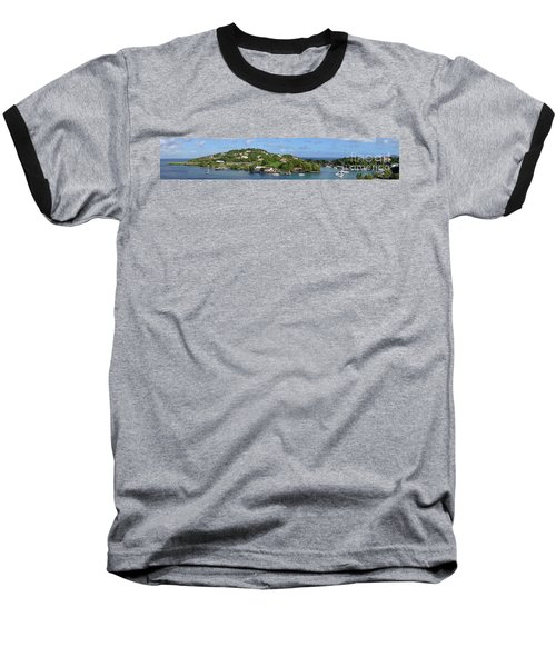 Saint Lucia Panorama Baseball T-Shirt