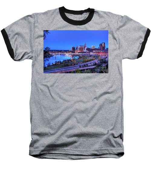 Saint Paul Minnesota Skyline Blue Morning Light Baseball T-Shirt