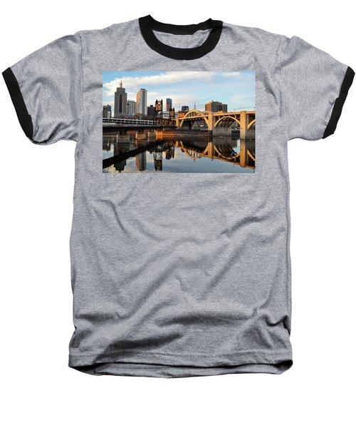 Saint Paul Mississippi River Sunset Baseball T-Shirt