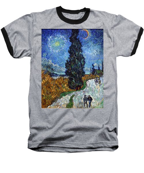 Saint-remy Road With Cypress And Star Baseball T-Shirt