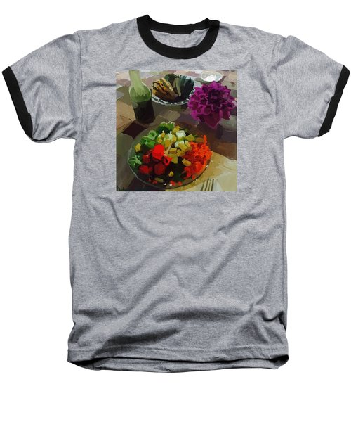 Salad And Dressing With Squash And Purple Dahlia Baseball T-Shirt