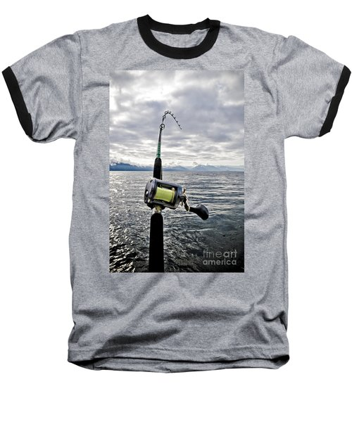 Salmon Fishing Rod Baseball T-Shirt by Darcy Michaelchuk