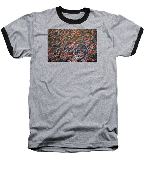 Salmon So Thick You Can Walk On Them Baseball T-Shirt by Mary Lee Dereske