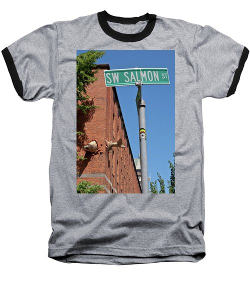 Baseball T-Shirt featuring the photograph Salmon Through A Building by Frank DiMarco