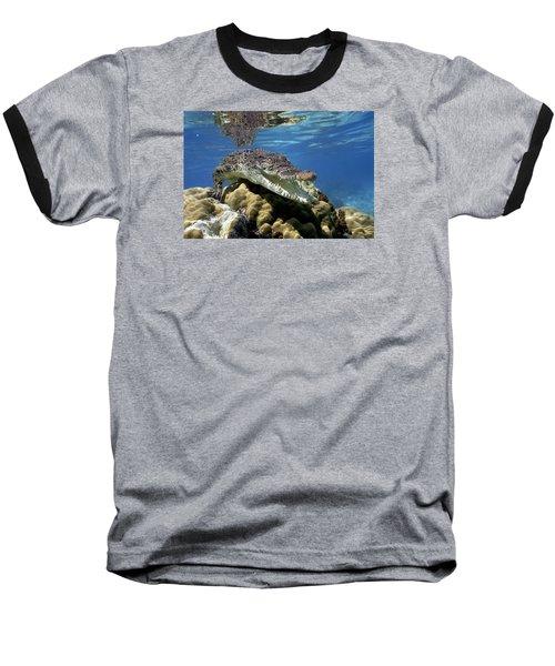 Saltwater Crocodile Smile Baseball T-Shirt