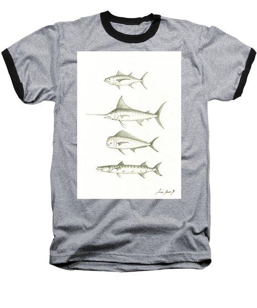 Saltwater Gamefishes Baseball T-Shirt by Juan Bosco