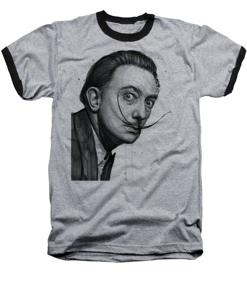Salvador Dali Portrait Black And White Watercolor Baseball T-Shirt
