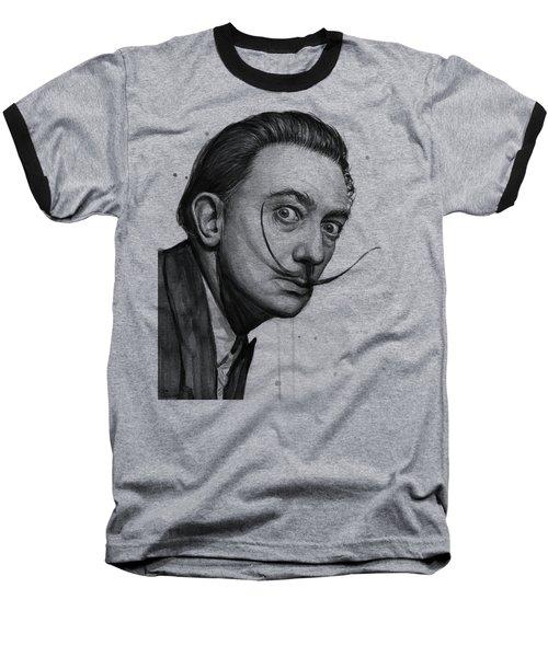 Salvador Dali Portrait Black And White Watercolor Baseball T-Shirt