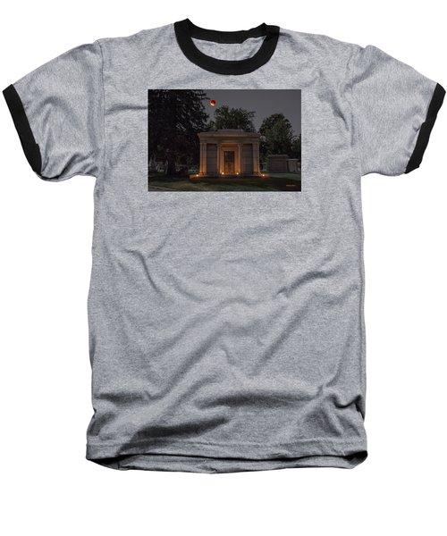Baseball T-Shirt featuring the photograph Samuel D. Nicholson Mausoleum Under The Blood Moon by Stephen  Johnson