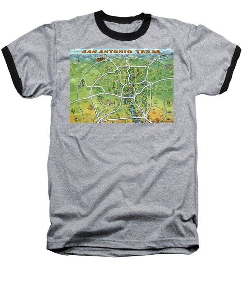 Baseball T-Shirt featuring the painting San Antonio Texas Cartoon Map by Kevin Middleton