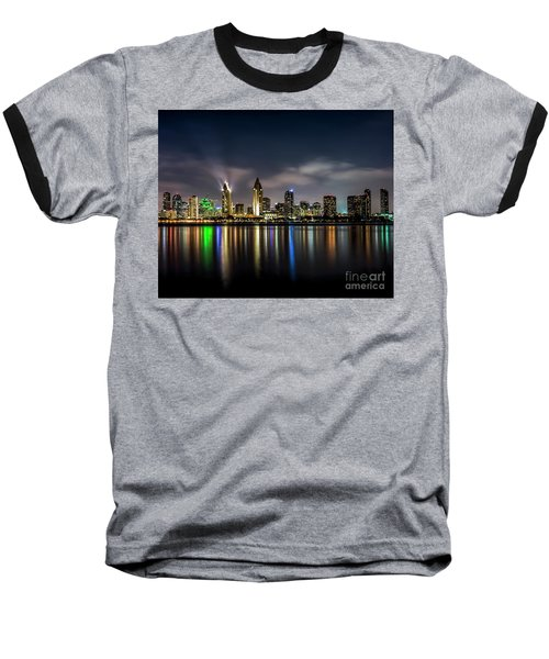 San Diego Skyline At Night Baseball T-Shirt