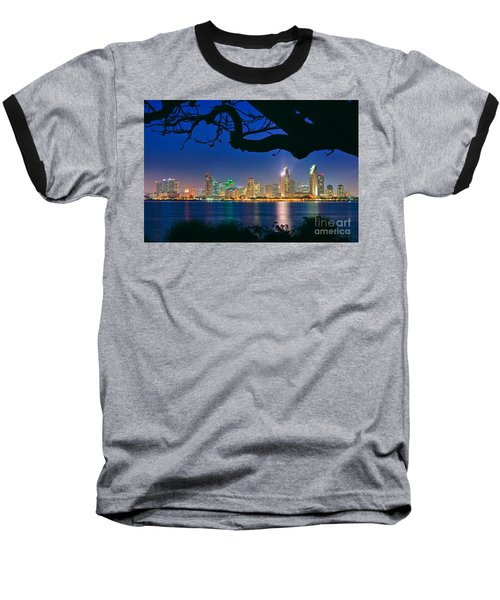 San Diego Skyline From Bay View Park In Coronado Baseball T-Shirt by Sam Antonio