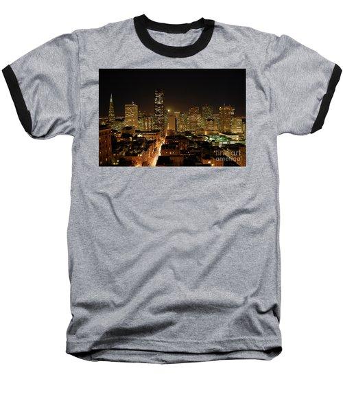 San Francisco At Night Baseball T-Shirt