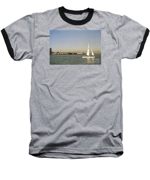 San Francisco Bay Sail Boat Baseball T-Shirt by Ted Pollard