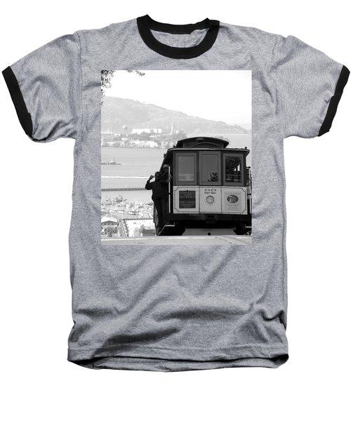 San Francisco Cable Car With Alcatraz Baseball T-Shirt