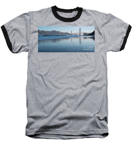 San Francisco Golden Gate Bridge Reflected On Baker's Beach Wet  Baseball T-Shirt