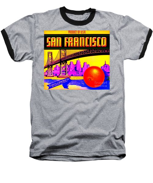 Baseball T-Shirt featuring the painting San Francisco Oranges by Peter Gumaer Ogden