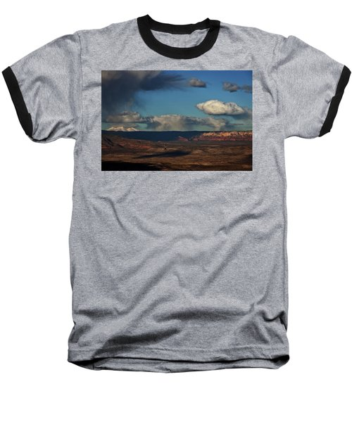 San Francisco Peaks With Snow And Clouds Baseball T-Shirt by Ron Chilston