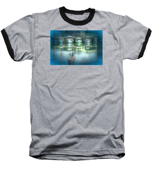 Baseball T-Shirt featuring the drawing San Francisco Pier by Michael Cleere