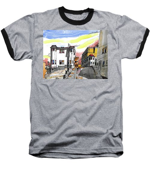 Baseball T-Shirt featuring the painting San Francisco Side Street by Terry Banderas