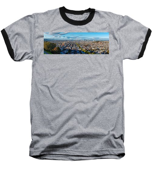 San Francisco Skyline From Bernal Heights Park At Sunset - San Francisco California Baseball T-Shirt