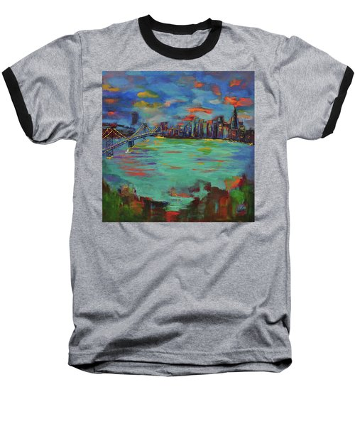 San Francisco Skyline In Sunset Baseball T-Shirt