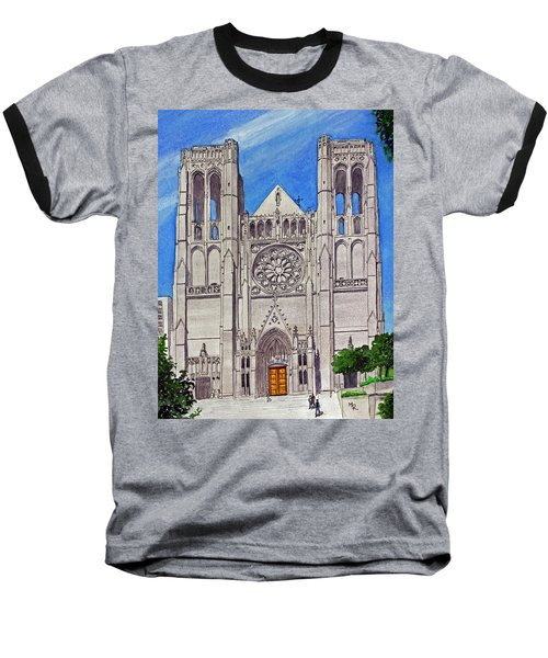 San Francisco's Grace Cathedral Baseball T-Shirt by Mike Robles
