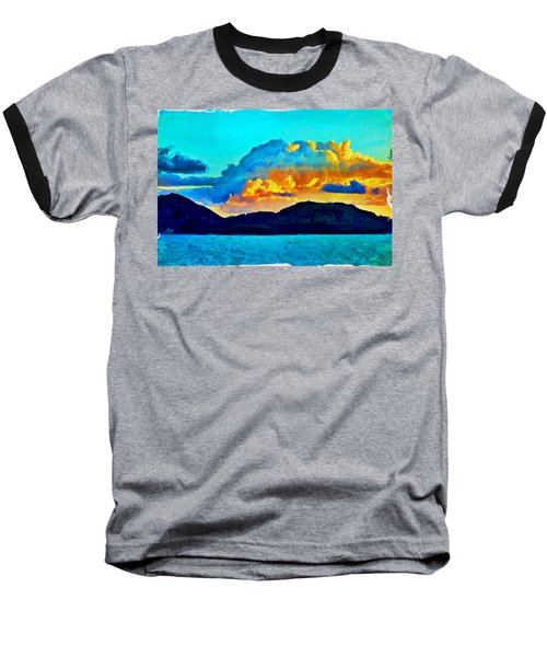 Baseball T-Shirt featuring the painting San Juan Seascape by Joan Reese
