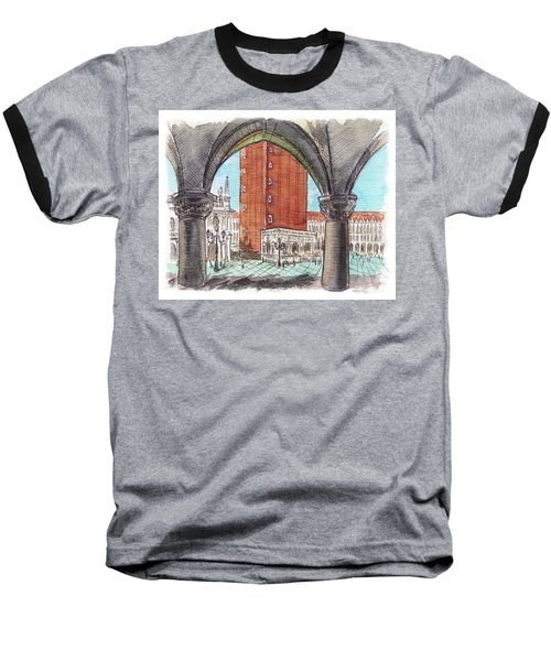 Baseball T-Shirt featuring the painting San Marcos Square Venice Italy by Irina Sztukowski