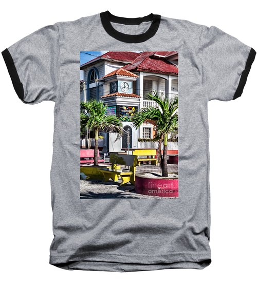 San Pedro Town Plaza Baseball T-Shirt by Lawrence Burry