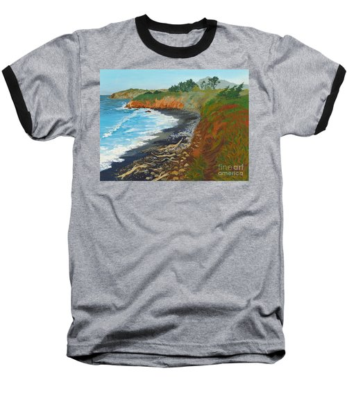 Baseball T-Shirt featuring the painting San Simeon Ca Coast by Katherine Young-Beck