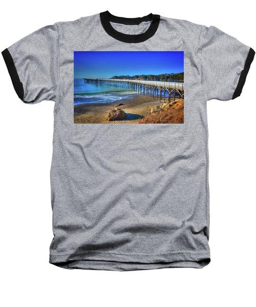 San Simeon Pier California Coast Baseball T-Shirt by James Hammond