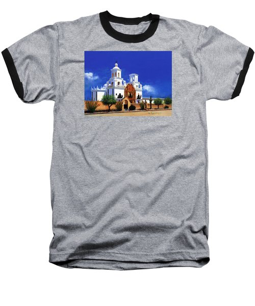 Baseball T-Shirt featuring the painting San Xavier Del Bac Mission by M Diane Bonaparte