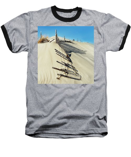 Sand Dune Fences And Shadows Baseball T-Shirt by Gary Slawsky