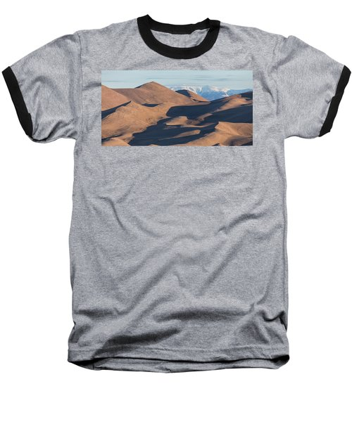 Sand Dunes And Rocky Mountains Panorama Baseball T-Shirt by James BO Insogna