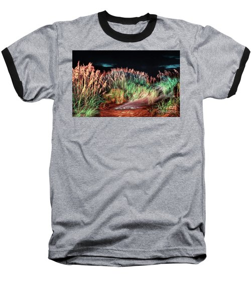 Baseball T-Shirt featuring the painting Sand Dunes At Night On The Outer Banks Ap by Dan Carmichael