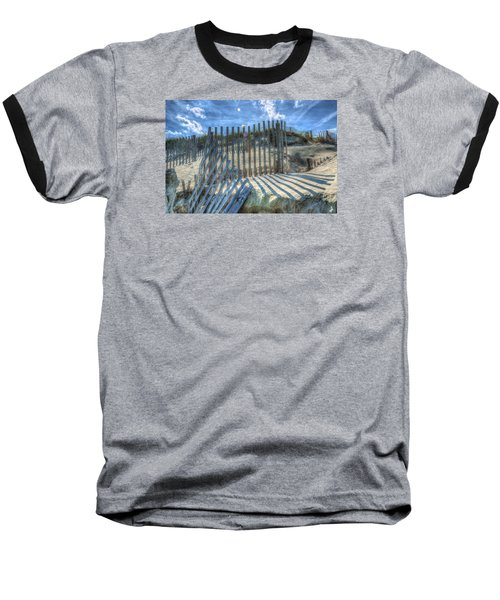 Sand Fence Baseball T-Shirt by Greg Reed