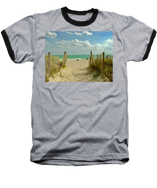 Sand Track To The Beach Baseball T-Shirt